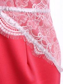 Lace Splicing Slit Sleeveless Dress - RED M