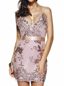 Spaghetti Strap V-Neck Sequined Floral Dress - Pink