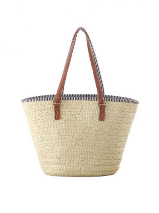 Tassels Weaving Striped Shoulder Bag - OFF-WHITE  Mobile