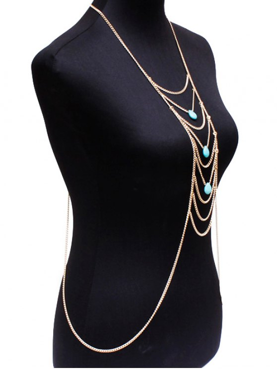 Fake Turquoise Water Drop Body Chain - GOLDEN  Mobile