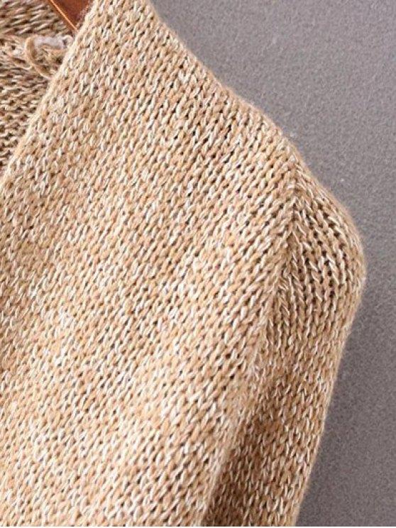 Collarless Long Sleeve Trapezoid Pocket Loose Cardigan - KHAKI ONE SIZE Mobile