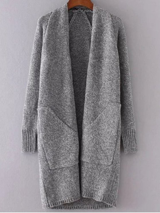 Collarless Long Sleeve Trapezoid Pocket Loose Cardigan - GRAY ONE SIZE Mobile