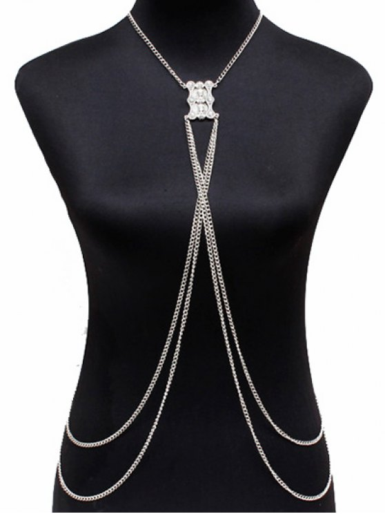affordable Layered Alloy Body Chain - SILVER