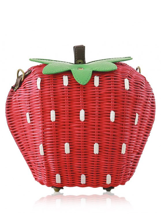 hot Strawberry Shape Weaving Color Block Shoulder Bag - RED AND GREEN