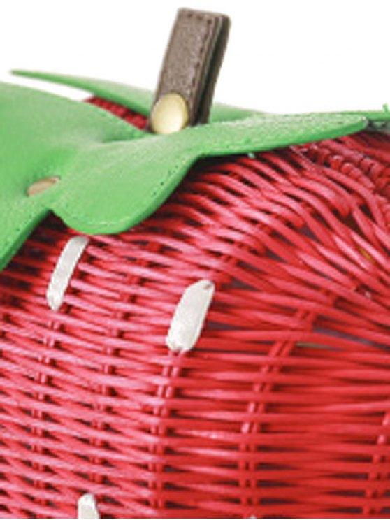 Strawberry Shape Weaving Color Block Shoulder Bag - RED AND GREEN  Mobile
