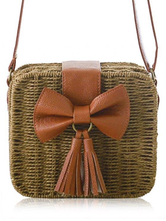 lady Bow Tassels Weaving Crossbody Bag - DEEP BROWN