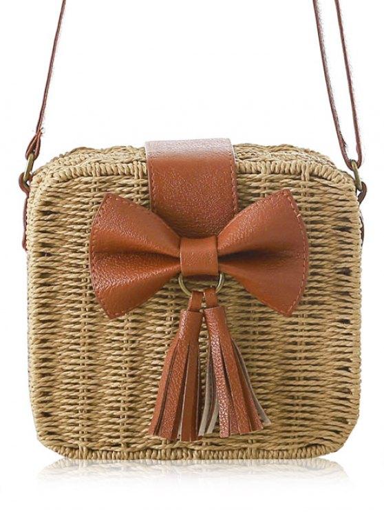Bow Tassels Weaving Crossbody Bag - LIGHT BROWN  Mobile
