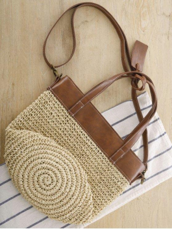 Splicing Weaving Straw Shoulder Bag - BEIGE  Mobile