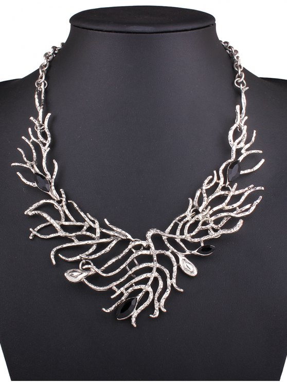affordable Resin Branch Leaf Necklace - SILVER
