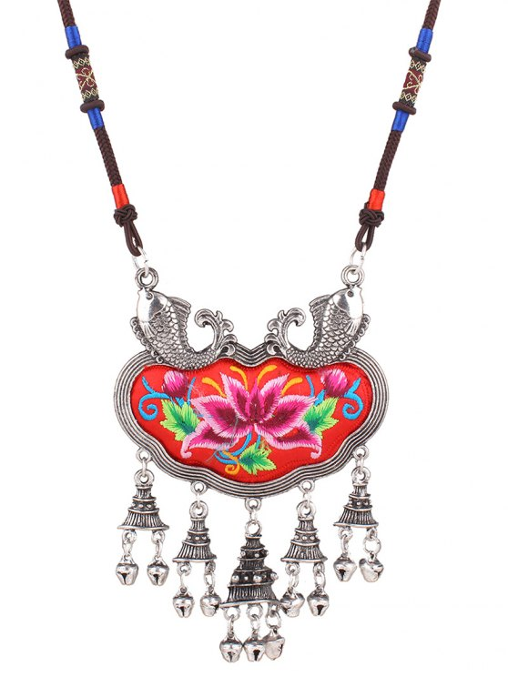 outfits Lotus Embroidery Carp Necklace - RED