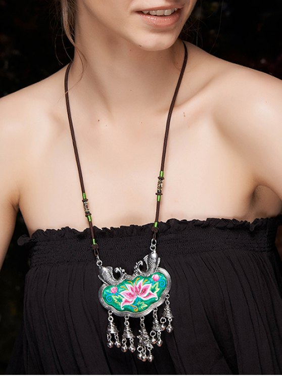 shop Lotus Embroidery Fringed Necklace - GREEN