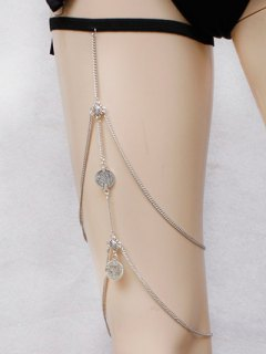 Alloy Coins Body Chain - Silver