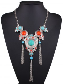 Faux Turquoise Fringed Necklace - Silver