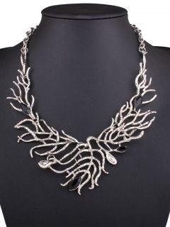 Resin Branch Leaf Necklace - Silver