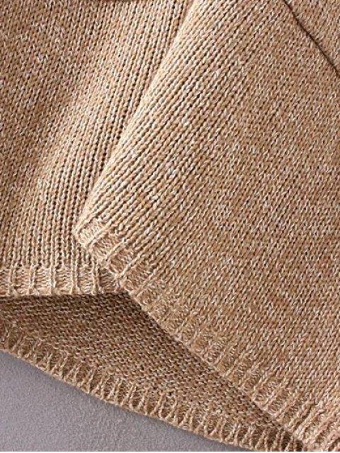 ladies Collarless Long Sleeve Trapezoid Pocket Loose Cardigan - KHAKI ONE SIZE Mobile