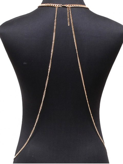 womens Alloy Geometric Body Chain - GOLDEN  Mobile