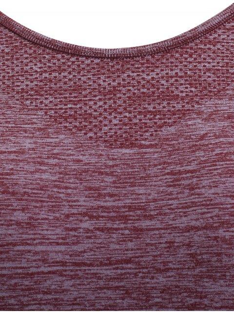 womens Raglan Short Sleeve Sport Running Gym T-Shirt - DARK RED M Mobile
