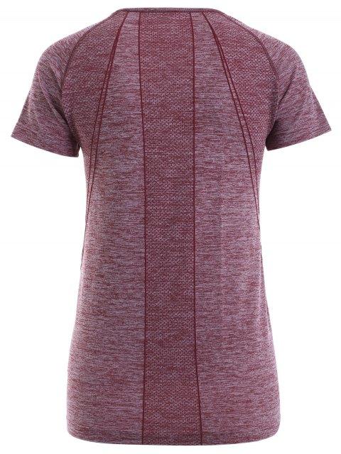 affordable Raglan Short Sleeve Sport Running Gym T-Shirt - DARK RED XL Mobile