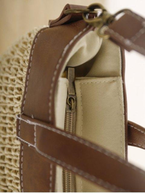 shops Splicing Weaving Straw Shoulder Bag - BEIGE  Mobile