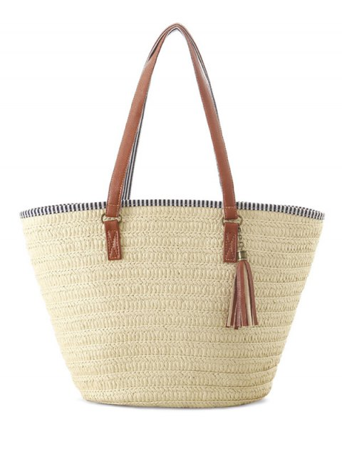 latest Tassels Weaving Striped Shoulder Bag - OFF-WHITE  Mobile
