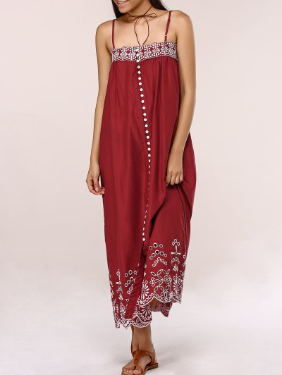 Embroidered Button Front Cami Dress
