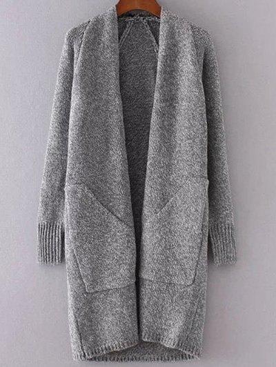 Collarless Long Sleeve Trapezoid Pocket Loose Cardigan - Gray