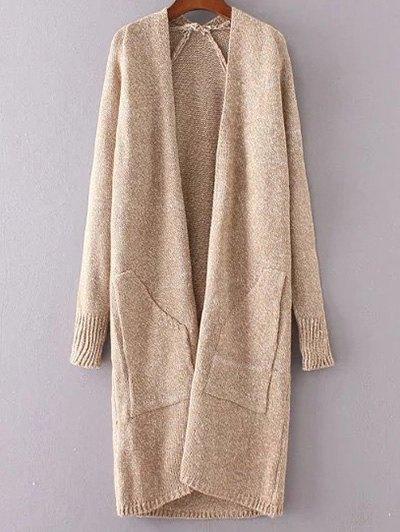 Collarless Long Sleeve Loose Trapezoid Pocket Cardigan