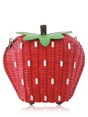 Strawberry Shape Weaving Color Block Shoulder Bag - Red And Green