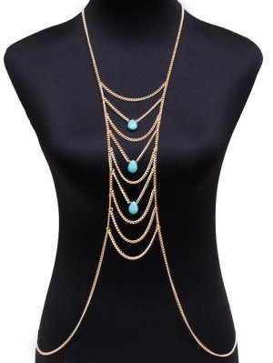 Fake Turquoise Water Drop Body Chain - Golden