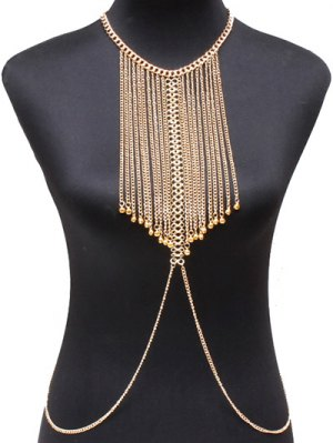 Alloy Geometric Body Chain - Golden