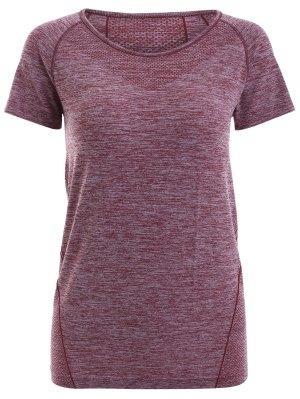 Raglan Short Sleeve Sport Running T-Shirt - Dark Red
