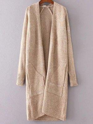Collarless Long Sleeve Trapezoid Pocket Loose Cardigan - Khaki