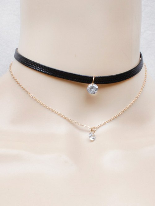 Faux Leather Rhinestone Necklace