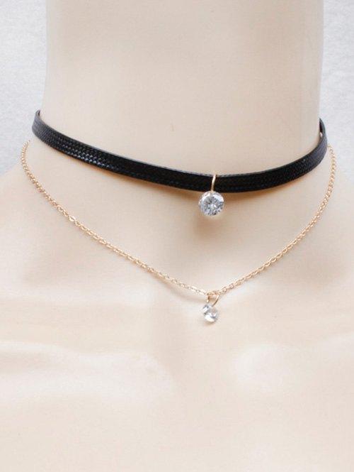 Faux Leather Rhinestone Necklace