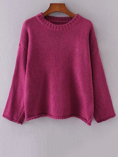 Round Neck Long Sleeve Flanging Solid Color Sweater