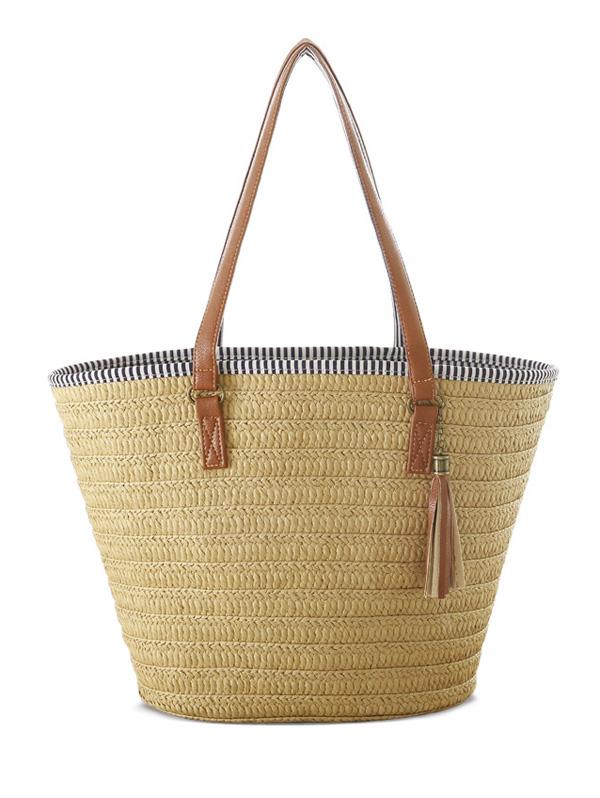 Tassels Weaving Striped Shoulder BagAccessories<br><br><br>Color: LIGHT BROWN
