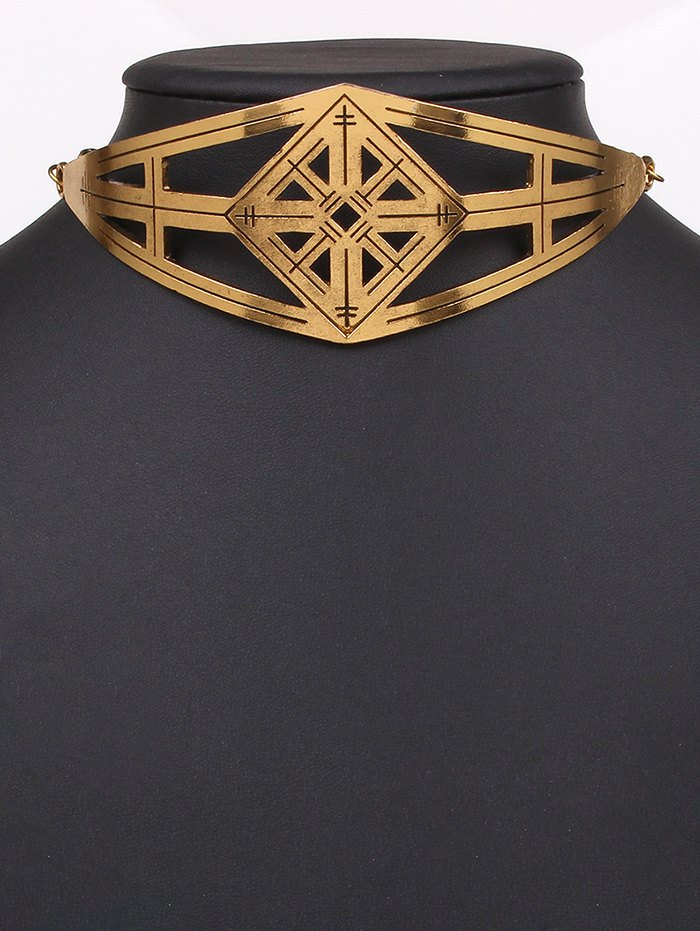 Cut Out Geometric Alloy Choker Necklace