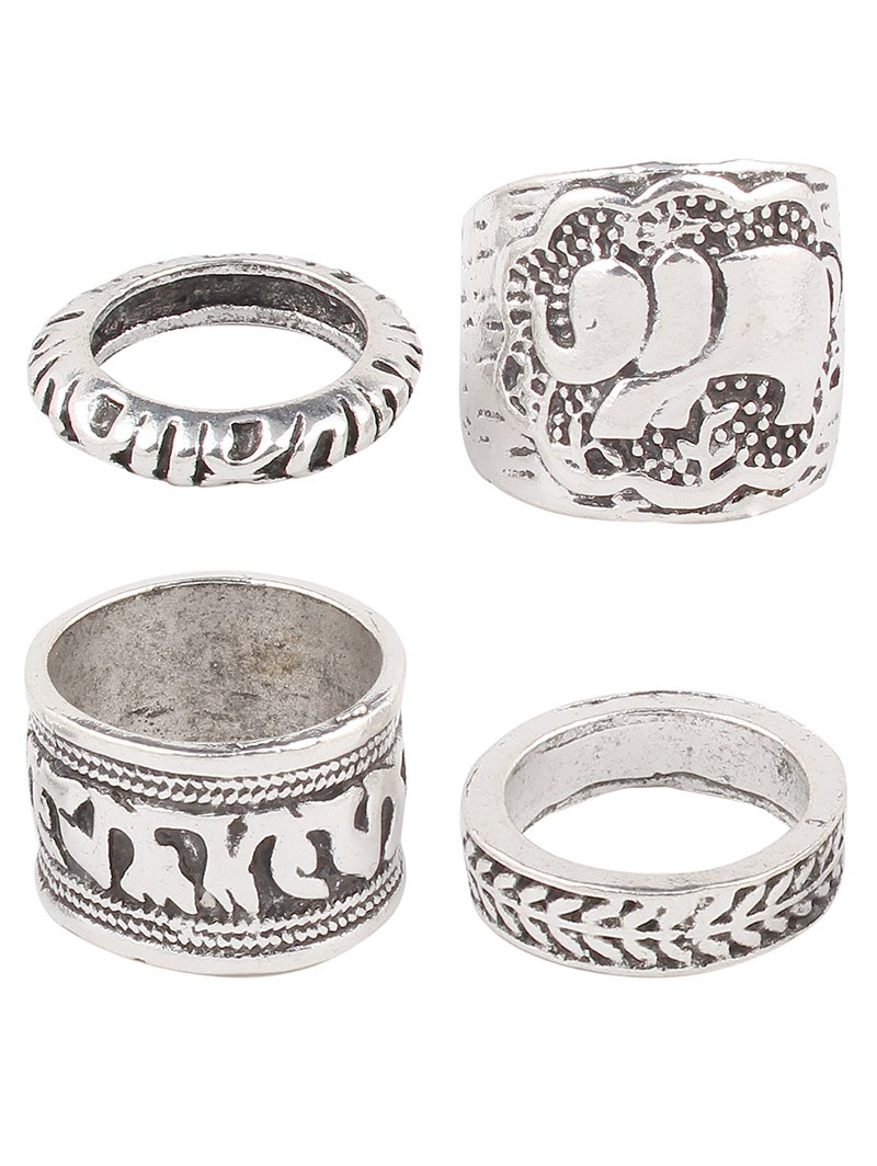 Engraved Elephant Etched Rings