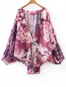 Collarless Bat-Wing Sleeve Tie-Dyed Print Blouse