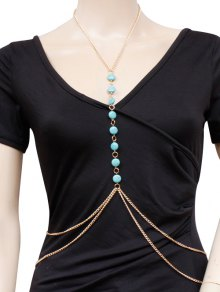 Buy Faux Turquoise Body Chain - GOLDEN