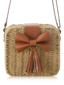 Bow Tassels Weaving Crossbody Bag - Light Brown