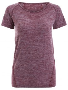 Raglan Short Sleeve Sport Running Gym T-Shirt - Dark Red Xl
