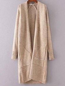 Collarless Long Sleeve Trapezoid Pocket Loose Cardigan - Khaki
