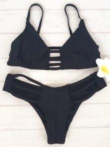 Cami Laddering Bikini Set - Black