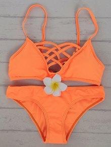 Solid Color Cami Hollow Out Bikini Set - Sweet Orange
