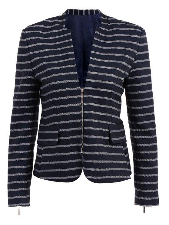 best Striepd Long Sleeve Zipper Blazer - DEEP BLUE S