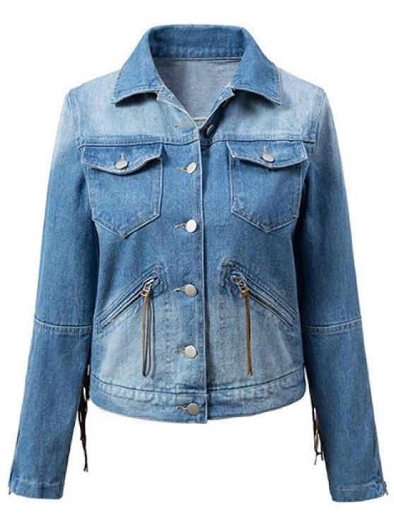 Tassels Spliced Shirt Collar Denim Jacket - BLUE M Mobile