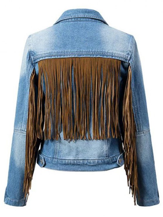 lady Tassels Spliced Shirt Collar Denim Jacket - BLUE XL