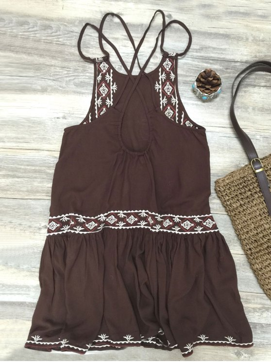 Embroidered Crisscross Strap Dress - COFFEE L Mobile