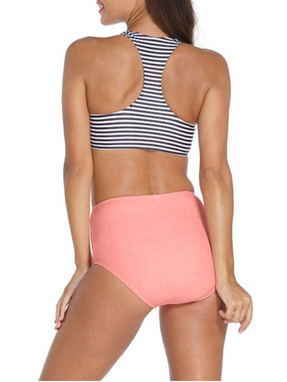 Striped High Neck High Waisted Tankini - STRIPE M Mobile